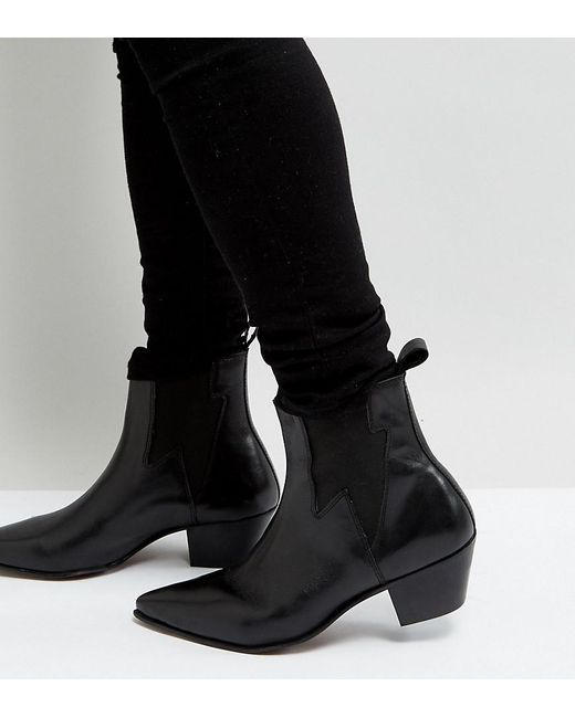71c8fbf317e ASOS Wide Fit Stacked Heel Western Boots In Black Leather With Lightning  Detail for men ...