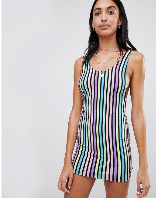 1a0fe23763f2 Motel - Blue Bodycon Mini Dress In Rainbow Candy Stripe - Lyst ...