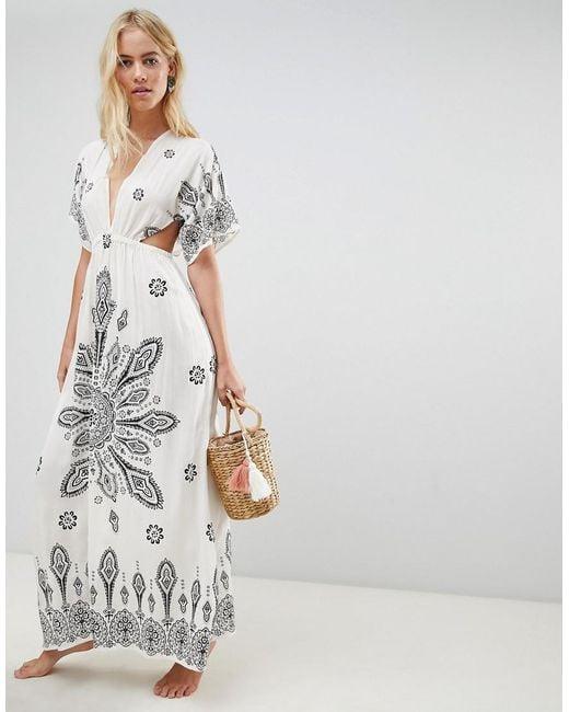 ASOS - Multicolor Placement Bandana Print Kimono Plunge Maxi Beach Dress - Lyst