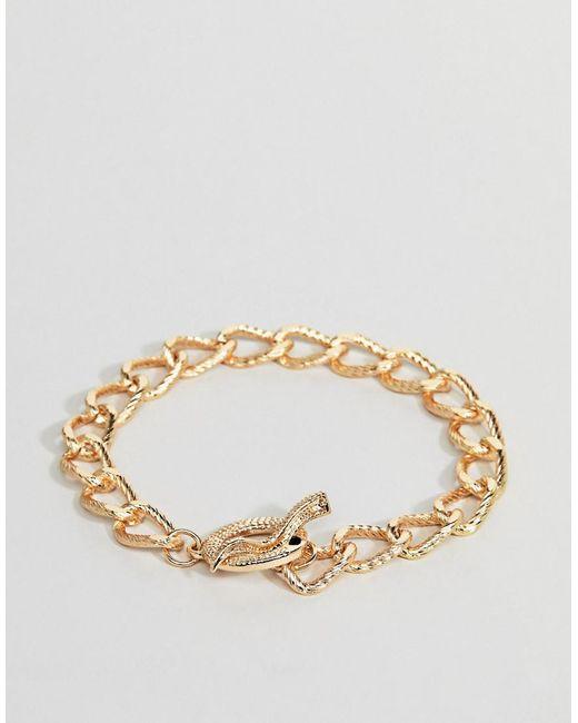 ASOS - Metallic Design Chain Bracelet In Gold With Snake for Men - Lyst