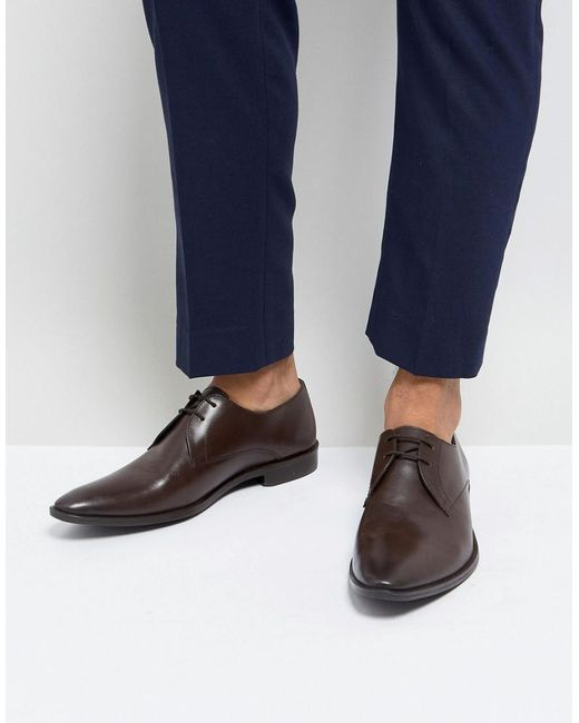 Frank Wright - Derby Shoes In Brown Leather for Men - Lyst