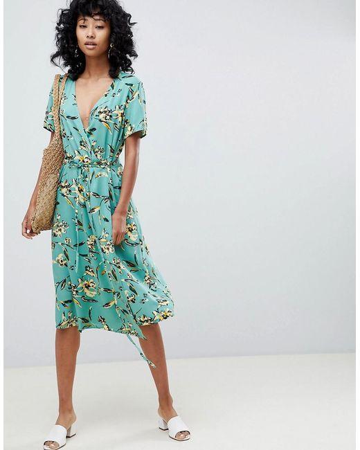 Ichi - Green Floral Wrap Dress - Lyst