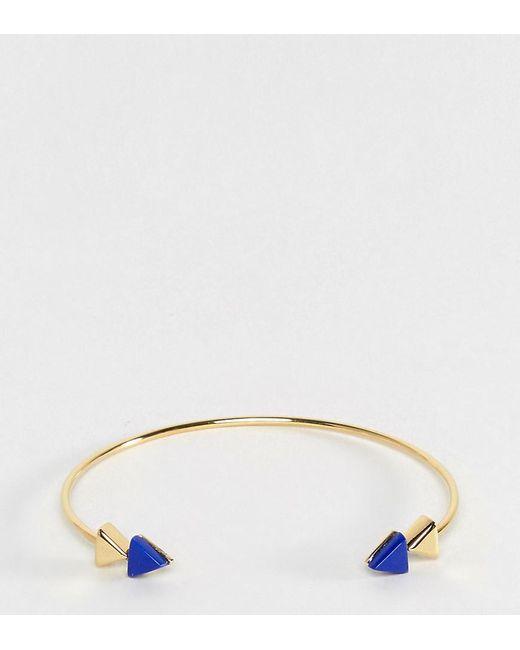 ASOS | Metallic Gold Plated Sterling Silver Arrow End Open Cuff Bracelet | Lyst