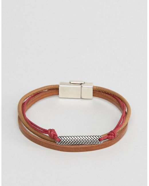 ASOS | Bracelet In Brown And Red With Burnished Clasp for Men | Lyst