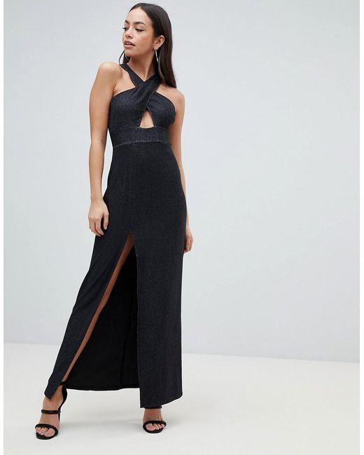 Cross Front Maxi Dress With Side Split - Black AX PARIS zWTcowYOR
