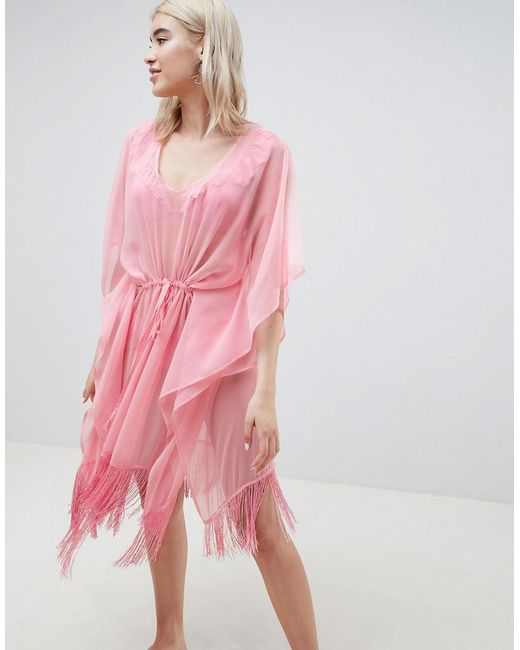 Pieces - Pink Beach Kaftan With Fringing - Lyst