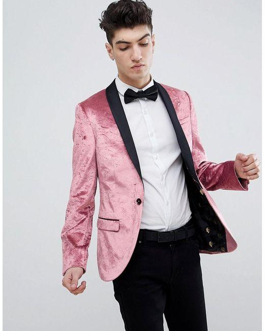 540f2abdb43c Noose And Monkey - Pink Super Skinny Blazer In Crushed Velvet for Men - Lyst  ...