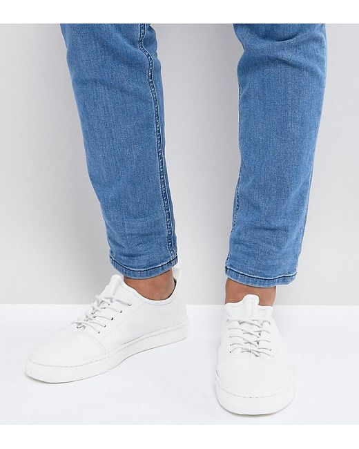 ASOS - Wide Fit Lace Up Trainers In White Leather - Lyst