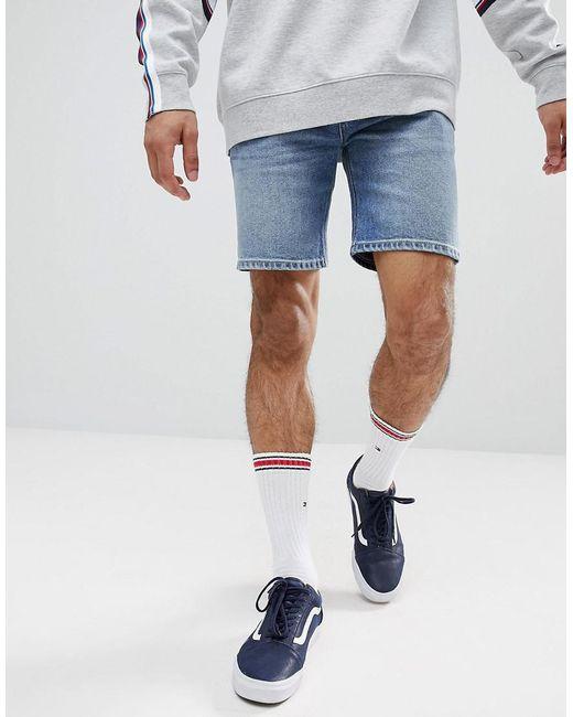 ASOS - Blue Denim Shorts In Skinny Mid Wash for Men - Lyst