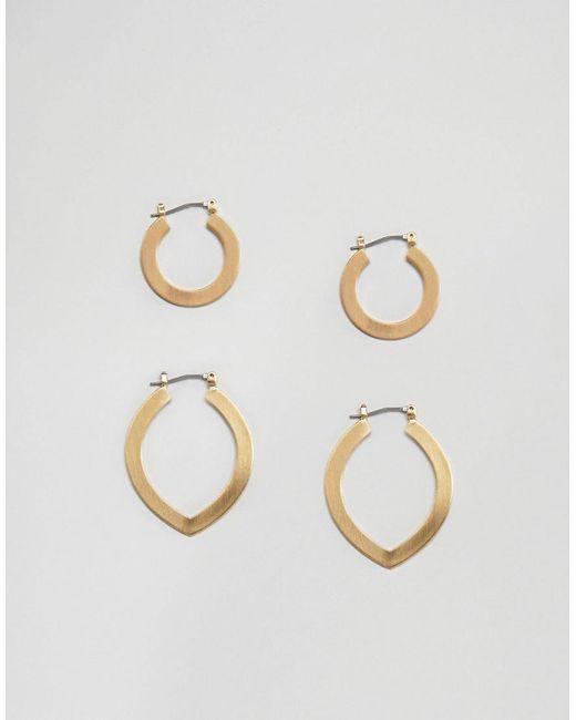 Pieces - Metallic Hoop Multi Pack Earrings - Lyst