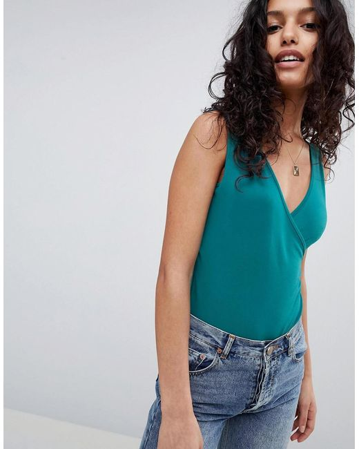 ASOS - Green Design Top With Wrap Front And Back - Lyst