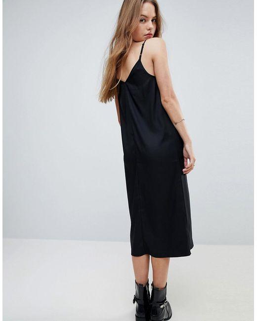 49727d18e43d ... ASOS - Black Midi Cami Slip Dress - Lyst