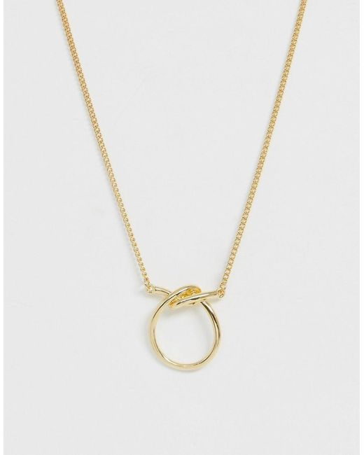 ASOS - Metallic Necklace With Knotted Open Circle Pendant In Gold Tone - Lyst