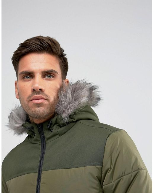 Another influence hooded faux fur parka jacket