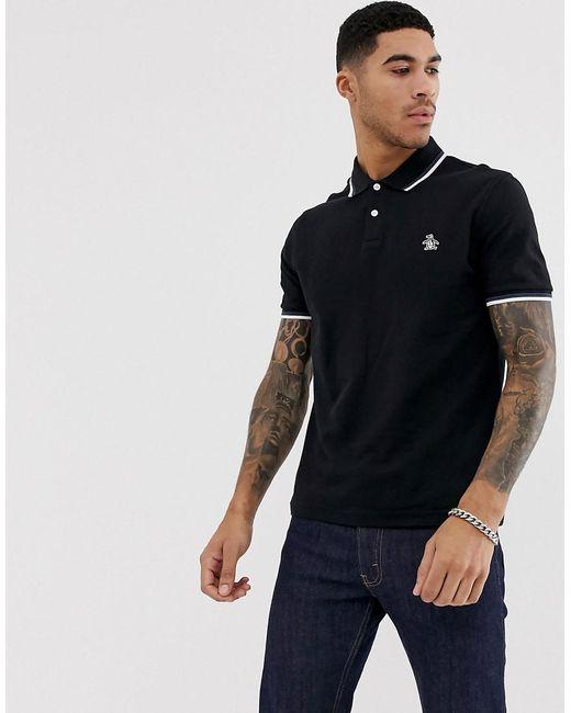 6718e933 Original Penguin - Slim Fit Tipped Pique Polo In Black for Men - Lyst ...