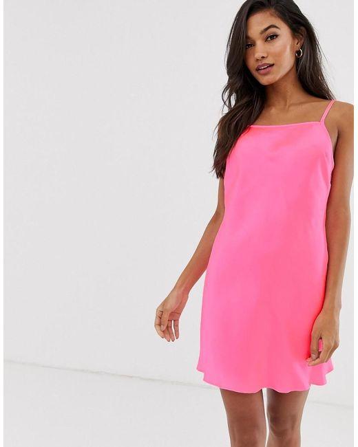 a973a6d2f81cf ASOS - Pink Asos Deisgn Satin Neon Bias Cut Slip Dress - Lyst ...