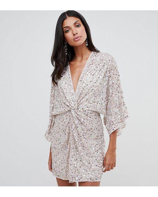 c5d58c035cd12 ASOS - Pink Asos Design Tall Scatter Sequin Knot Front Kimono Mini Dress -  Lyst ...