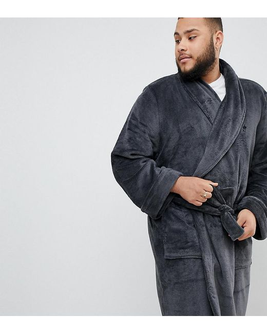 French Connection - Gray Plus Fleece Dressing Gown for Men - Lyst ... 93609176c