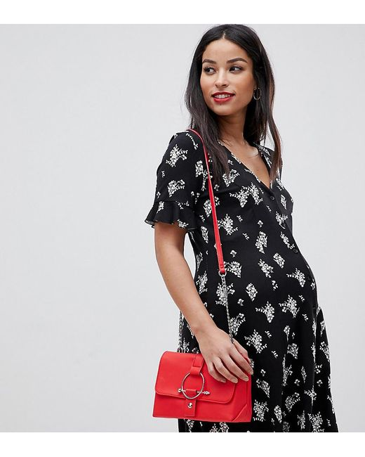 a0226b8bcd4 ASOS - Black Asos Design Maternity Button Through Tea Dress With Frill  Sleeve In Floral Print ...