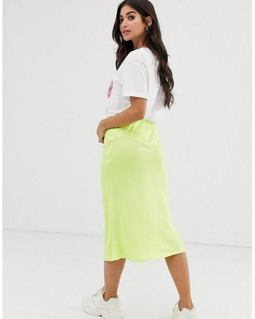 c4f09ea4d ... River Island - Green Bias Cut Midi Skirt In Lime - Lyst
