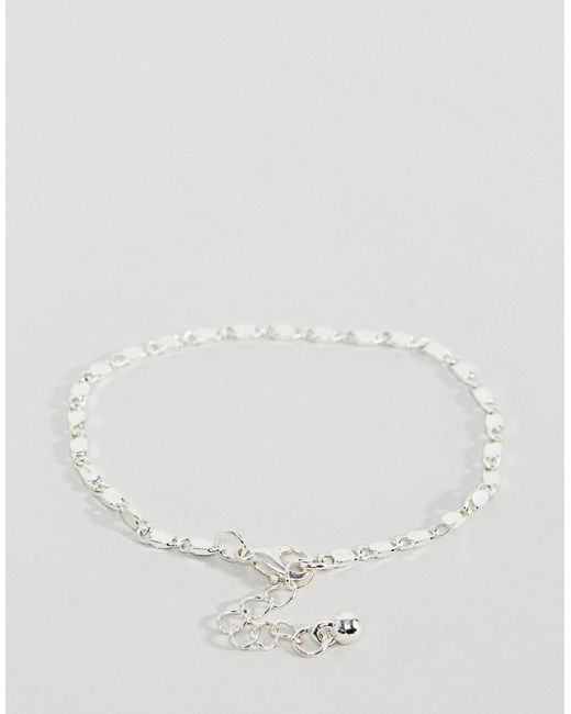 DESIGN bracelet pack of 3 with flat curb and tube chain detail in silver - Silver Asos YcrS3jJib