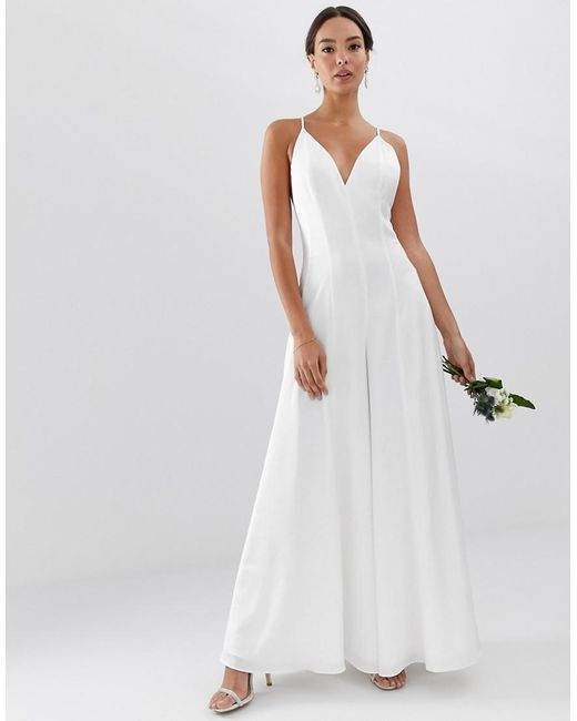 d1e8b56bbaf ASOS - White Plunge Cami Wide Leg Wedding Jumpsuit In Satin - Lyst ...