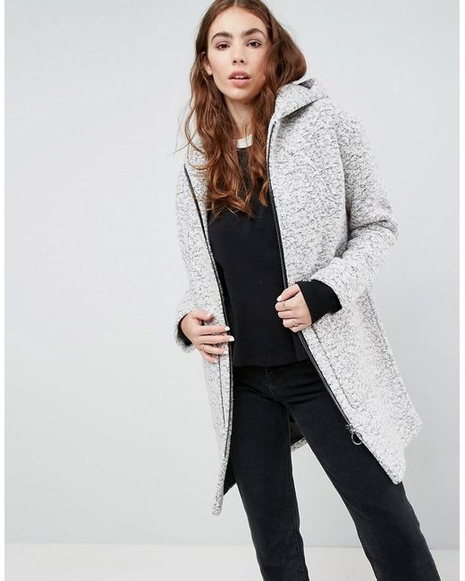 ASOS - Gray Hooded Textured Coat With Ring Pull - Lyst ...