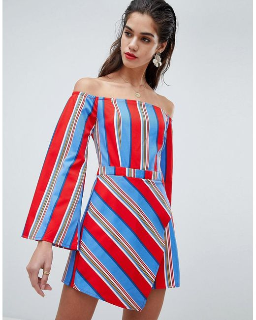 0832146d7ef Missguided - White Stripe Bardot Skort Playsuit - Lyst ...