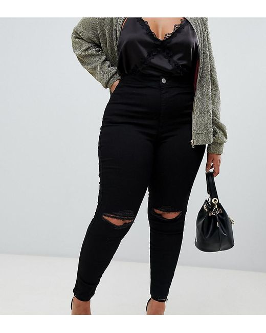 ASOS - Black Asos Design Curve Rivington High Waisted jeggings With Frayed Knee Rip Detail - Lyst