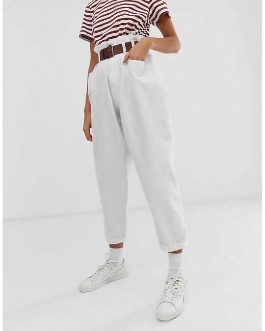 ASOS - Oversized Tapered Boyfriend Jeans With Curved Seams In Optic White With Belted Paper Bag Waist Detail - Lyst