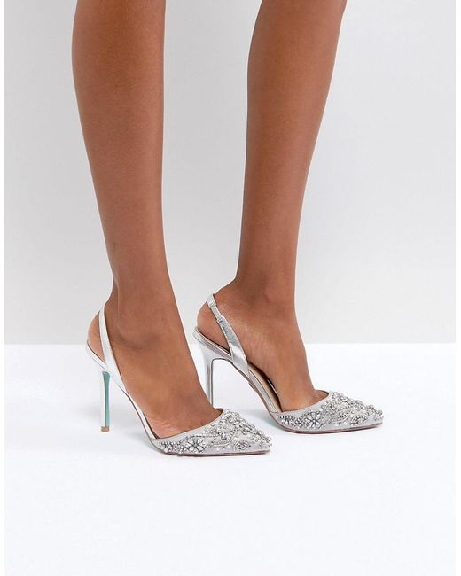Betsey Johnson - Metallic Blue By Betsy Johnson Silver Sonia Wedding Embellished Heeled Shoes - Lyst