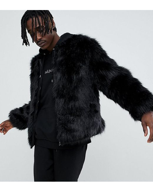 The New County - Black Bomber Jacket In Faux Fur for Men - Lyst
