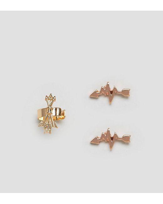 ASOS | Metallic Pack Of 2 Arrow Stud Earrings And Ear Cuff | Lyst