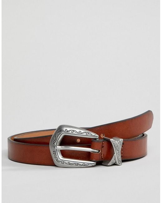 ASOS - Faux Leather Skinny Belt In Brown With Burnished Edge And Western Buckle for Men - Lyst