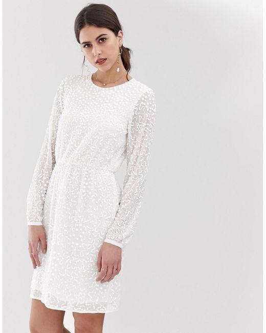 bd6329f7dd9 Y.A.S Beaded Open Back Mini Dress In White in White - Lyst