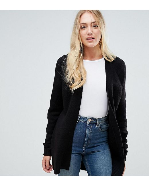 Asos Chunky Knit Cardigan In Wool Mix in Black | Lyst
