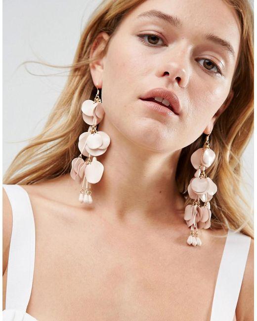 ASOS | Natural Metal Petal Drop Earrings | Lyst