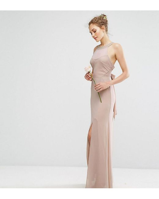 TFNC London - Brown Wedding Chiffon Maxi Dress With Tonal Embellishment And Tie Detail - Lyst