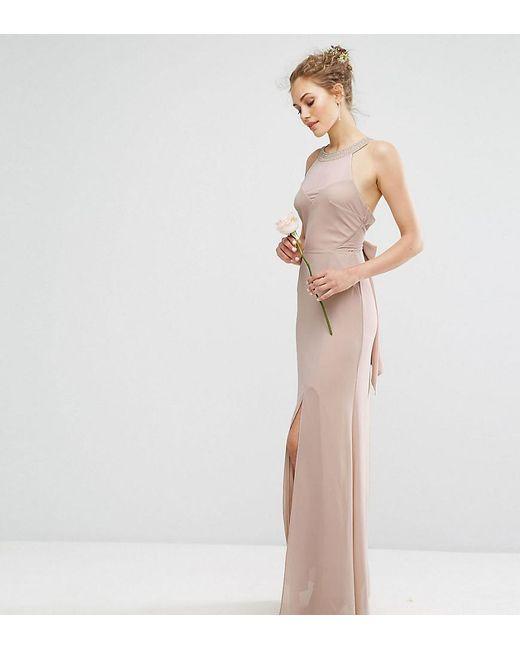 TFNC London - Brown Wedding Chiffon Maxi Dress With Tonal Embellishment And Tie Detail - Lyst