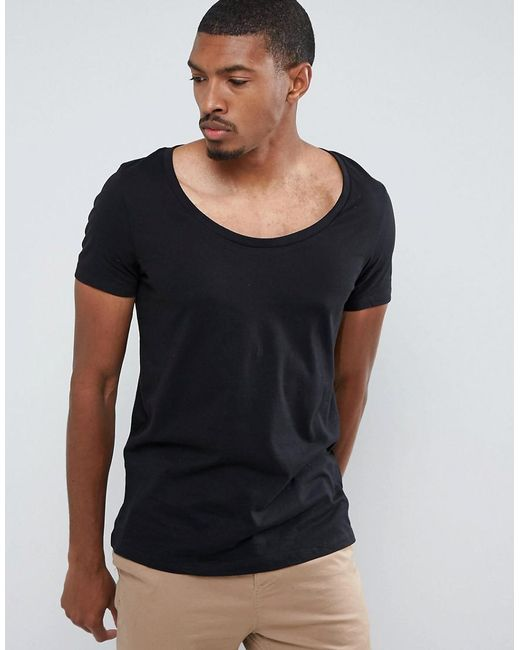 Lyst asos t shirt with deep scoop neck in black for men for Deep scoop neck t shirt