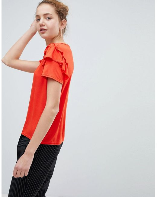 Daisy Street - Red Cute T-shirt With Ruffle Shoulders - Lyst