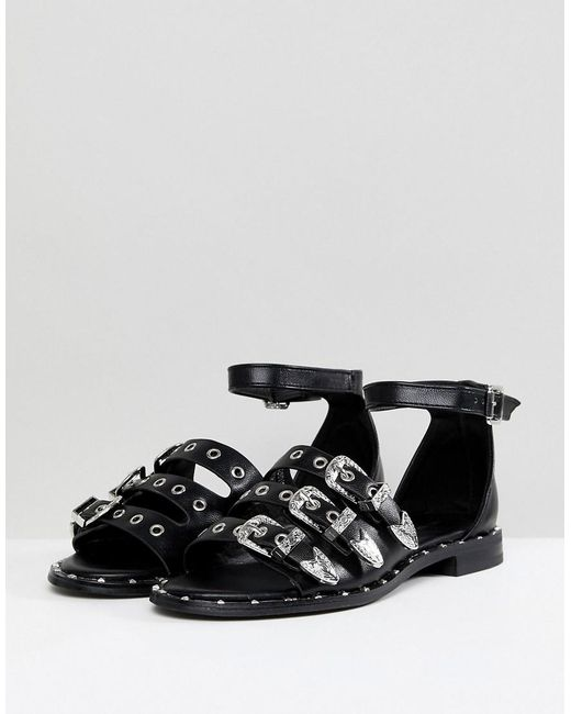Lost Ink Western Flat Sandals Wp4A5tEIV