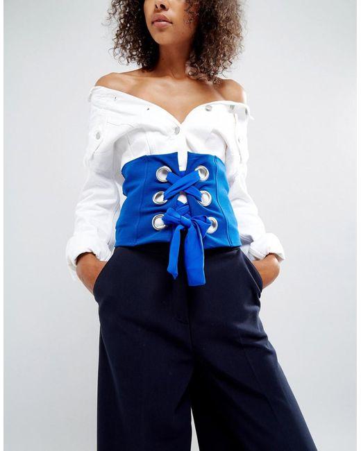 ASOS DESIGN - Blue Asos Bright Corset Belt With Large Eyelets - Lyst
