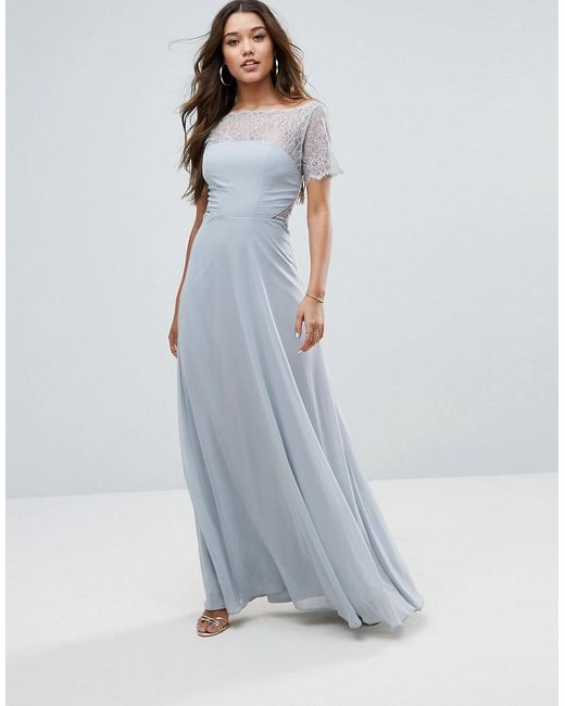 ASOS - Gray Asos Lace Insert Panelled Maxi Dress - Lyst