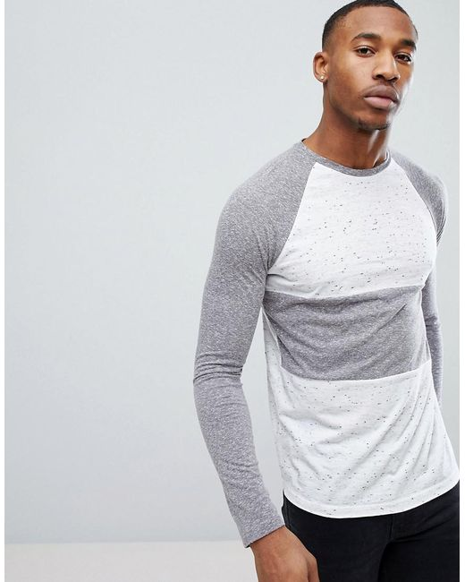 ASOS DESIGN - Gray Asos Long Sleeve T-shirt With Half And Half Colour Block In Textured Fabric for Men - Lyst