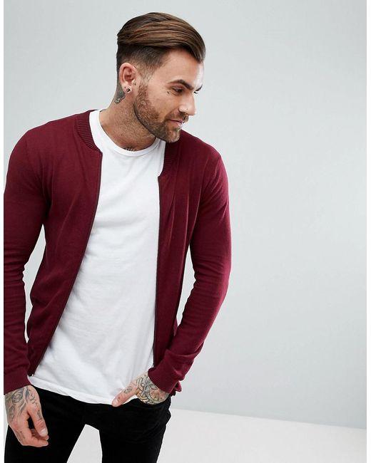 ASOS - Red Knitted Bomber In Burgundy for Men - Lyst