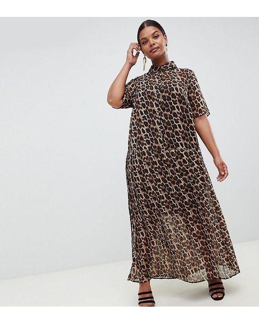 4d69a7f52f ASOS - Multicolor Asos Design Curve Pleated Maxi Shirt Dress In Leopard  Print - Lyst ...
