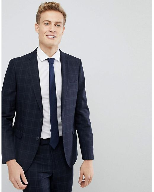 d6b825d77 Moss Bros - Blue Moss London Skinny Suit Jacket In Check for Men - Lyst ...