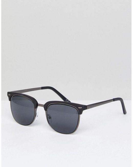 10adf4e7f0b02 ASOS - Blue Gafas de sol de estilo retro en gris plomo y negro mate de ...