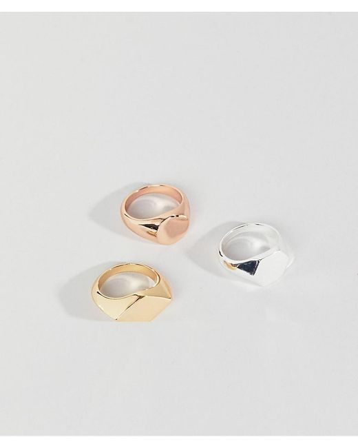 ASOS DESIGN - Multicolor Signet Ring Pack In Mixed Metal Finish for Men - Lyst